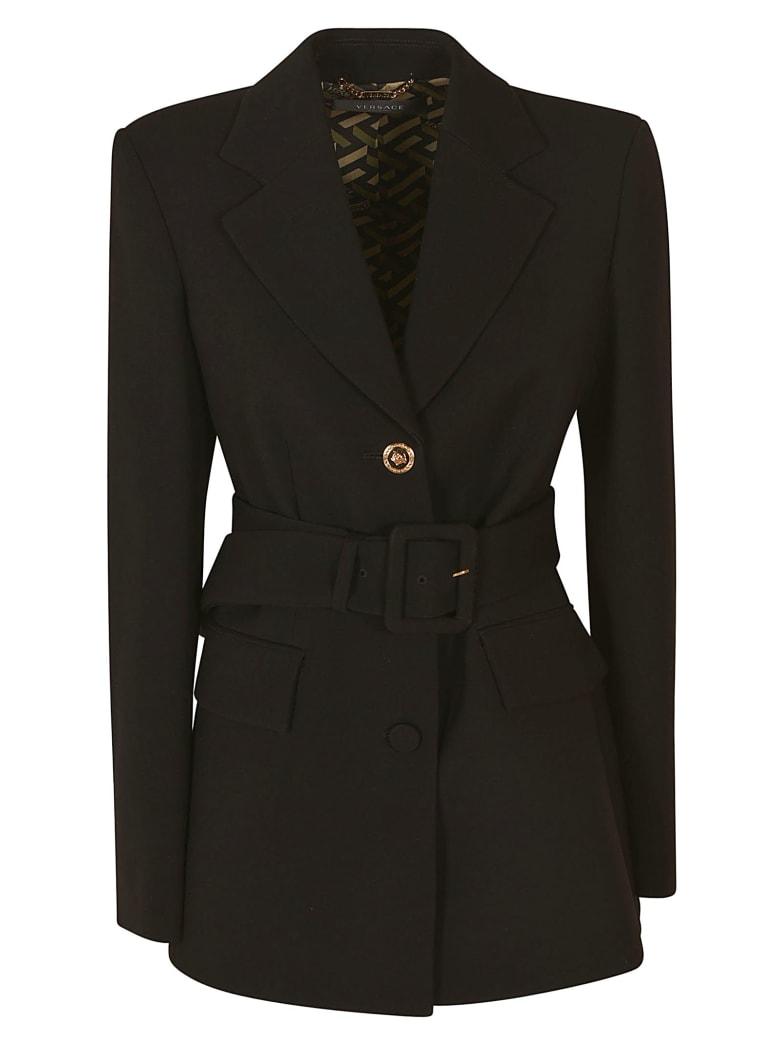 Versace Single Button Belted Waist Blazer - Black