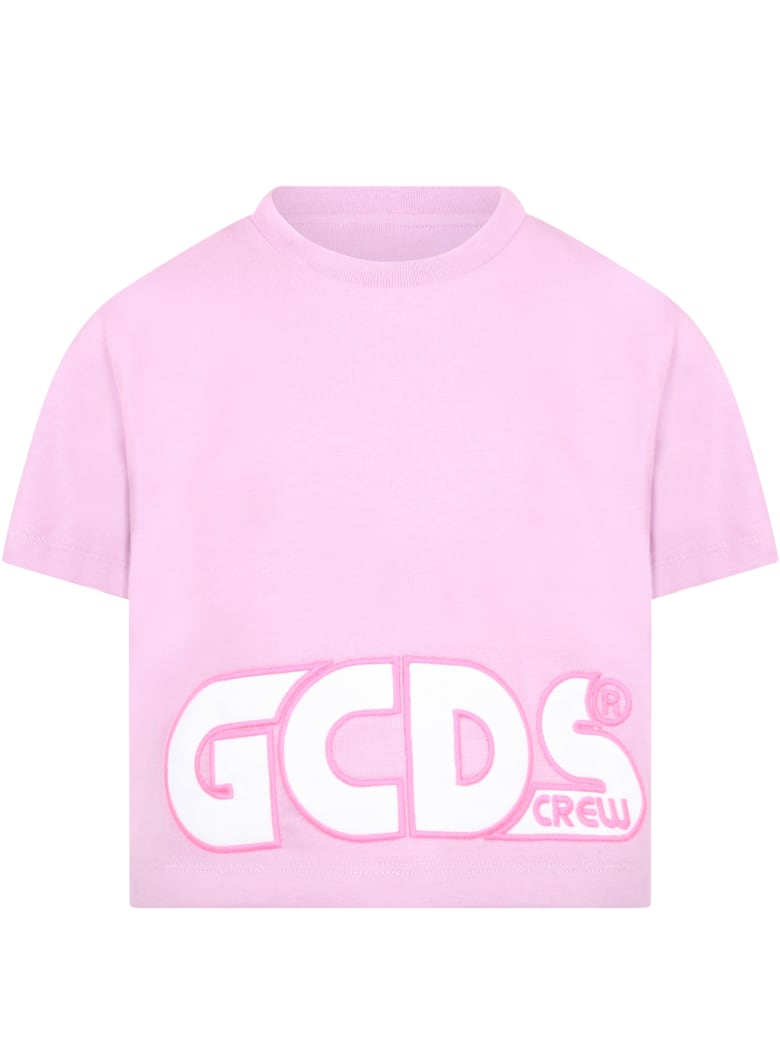 GCDS Lilac T-shirt For Girl With Logo - Lilla
