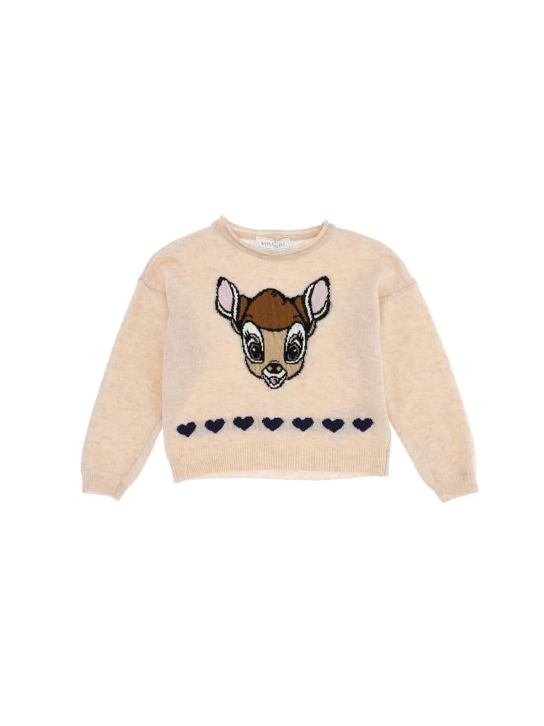 Monnalisa Beige Wool Sweater With Bamby Print - Beige