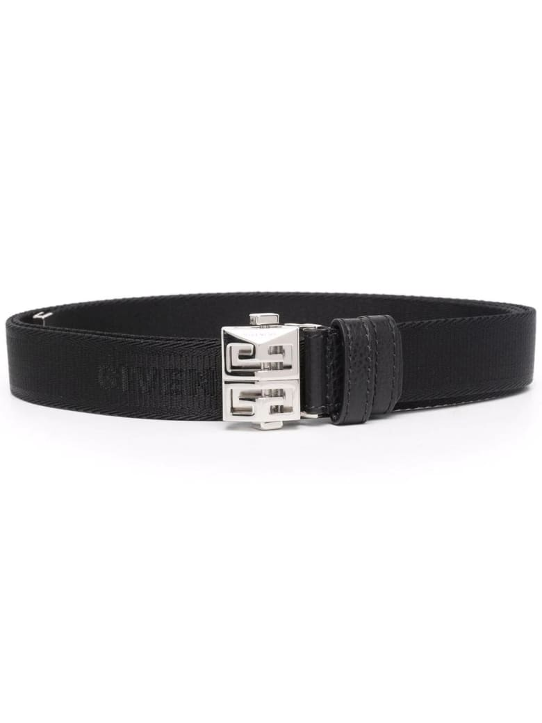 Givenchy Man Black Givenchy Canvas Belt With Silver 4g Buckle - Black
