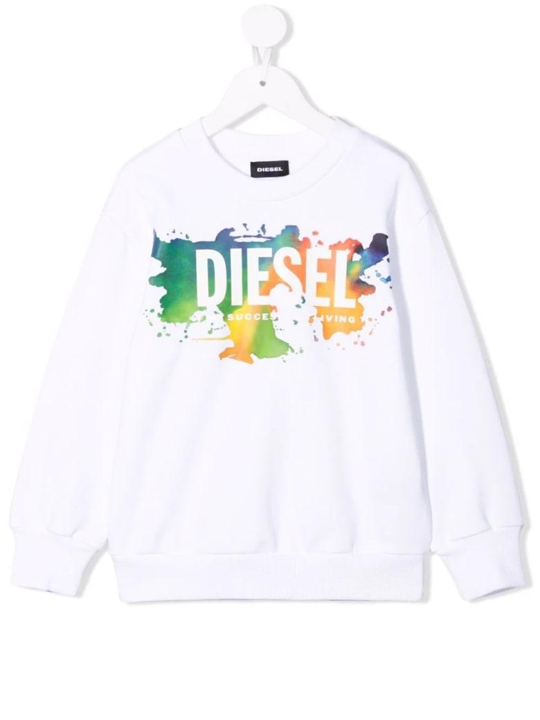 Diesel Kids Screwdosky White Sweatshirt With White Oversize Logo