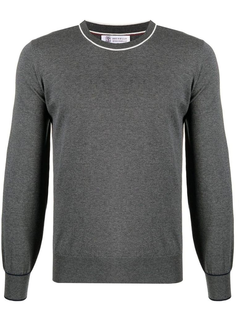Brunello Cucinelli Grey Cotton Jumper - Antracite