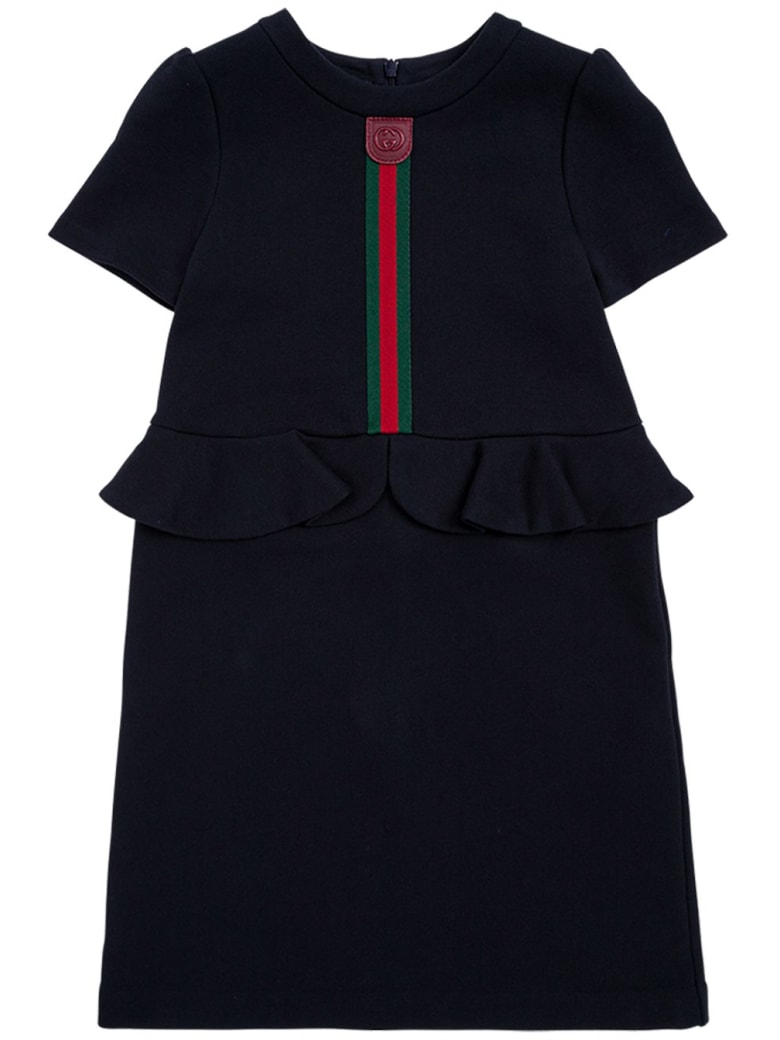 Gucci Blue Cotton Dress With Web Detail And Ruffles - Blu