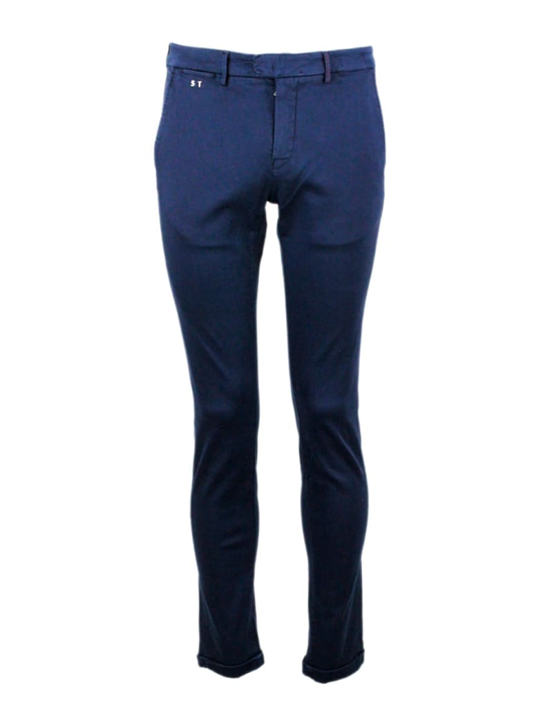 Sartoria Tramarossa Luis Slim Trousers In Stretch Cotton Gabardine With America Pockets With Sartorial Stitching - Blu