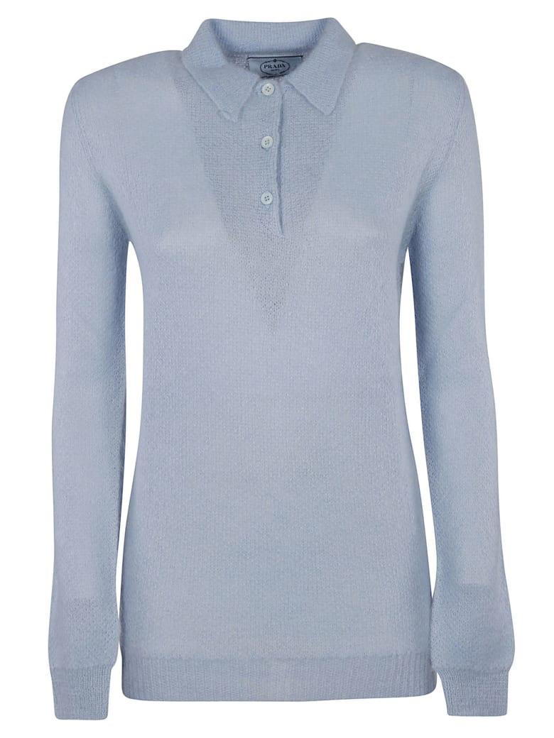 Prada Plain Long Sleeve Knit Polo Shirt - Sky