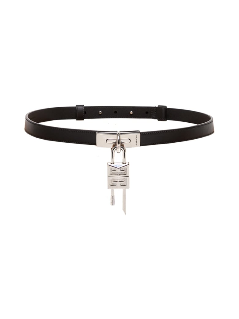 Givenchy Turnlock Leather Belt In Black Leather - Black