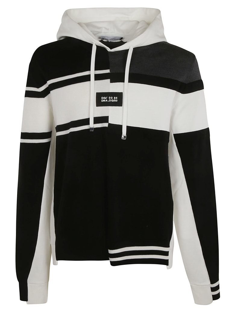 Dolce & Gabbana Layered Hooded Sweatshirt - Black/White