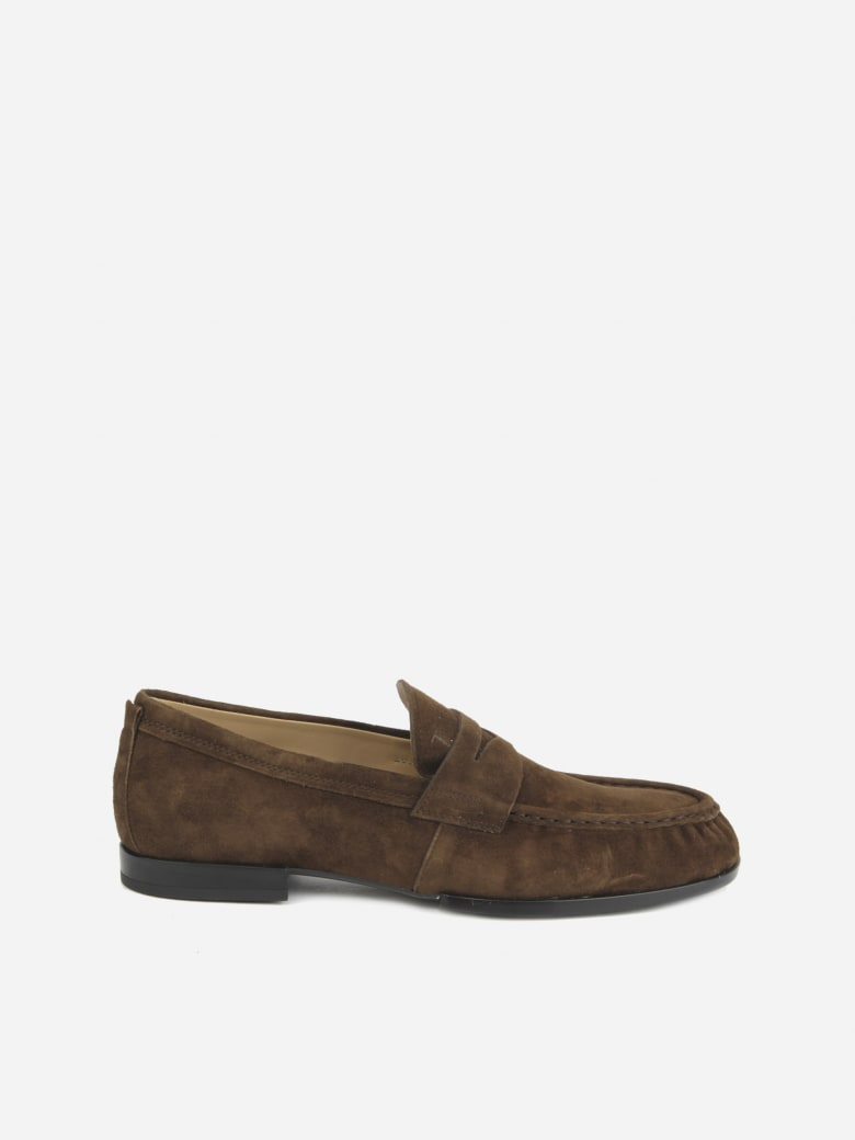 Tod's Monogram Suede Loafers - Brown