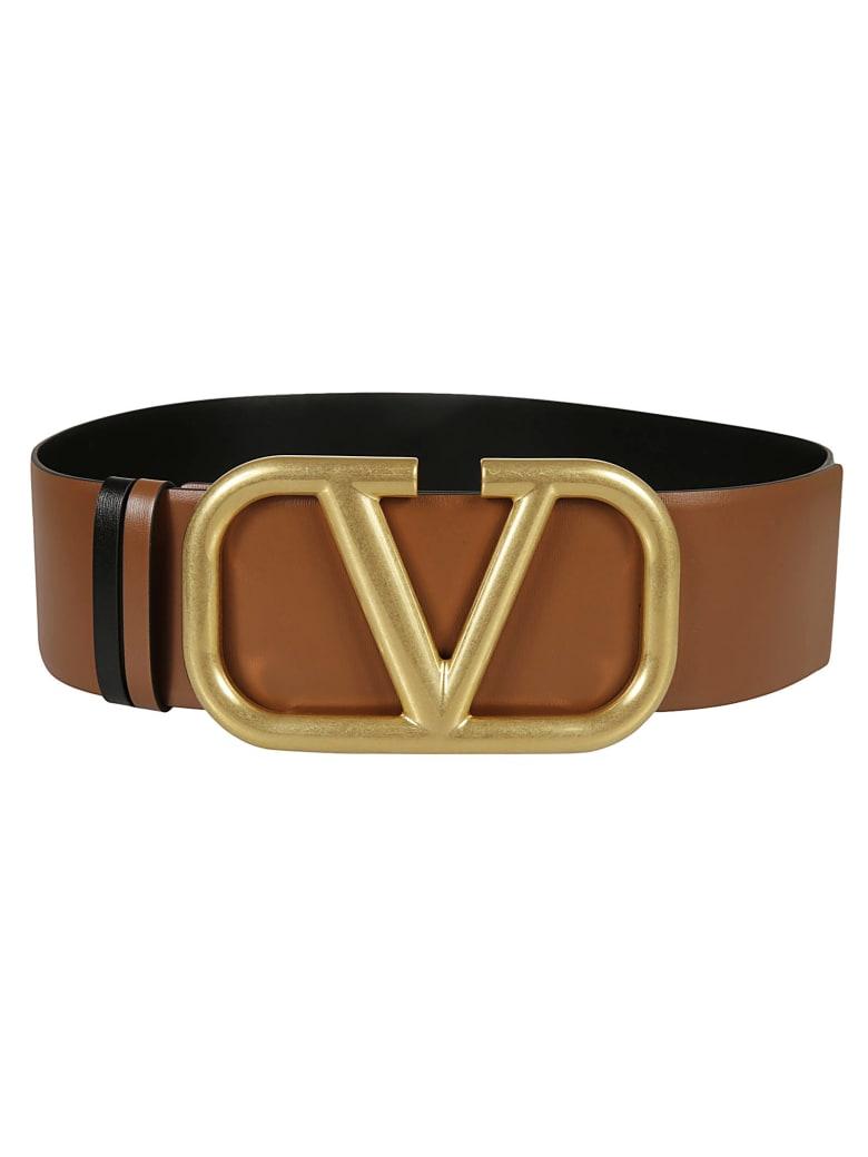 Valentino Garavani Logo Buckle Belt - Brown/Gold