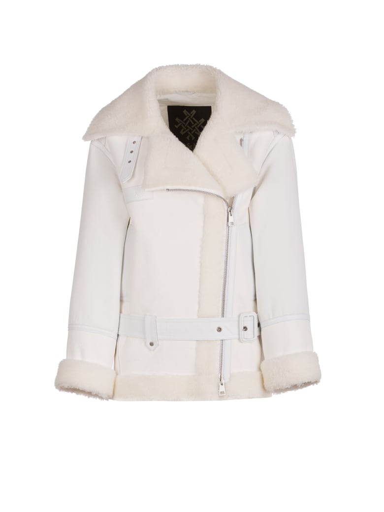 Mr & Mrs Italy Elizabeth Sulcer's Capsule Cotton Drill, Shearling And Leather Biker Jacket For Woman - SAND / BEIGE