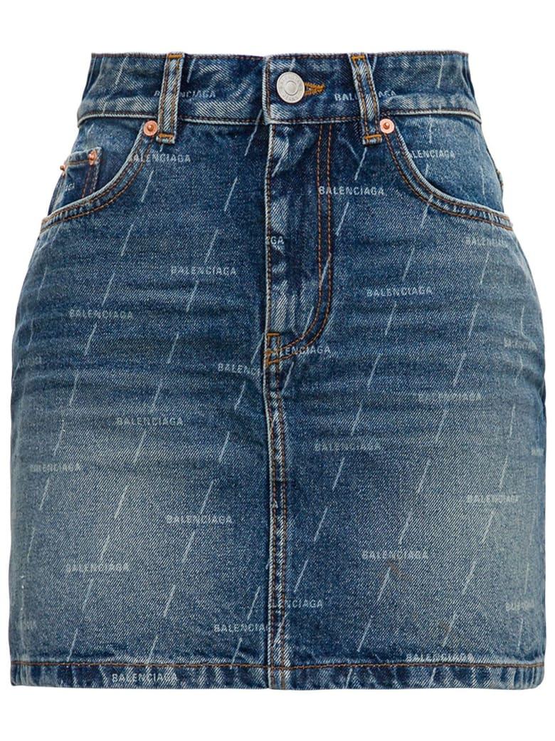 Balenciaga Denim Skirt With Allover Logo - Blu
