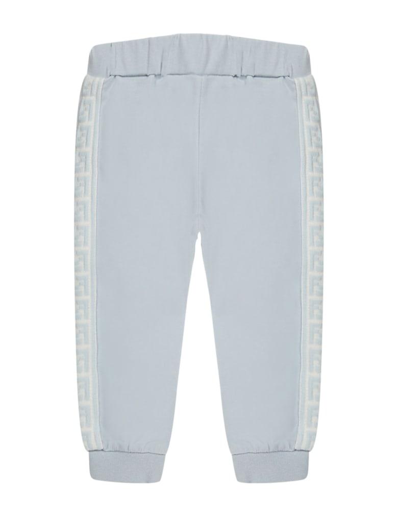 Fendi Light Blue Stretch Cotton Sweatpants - Azzurro