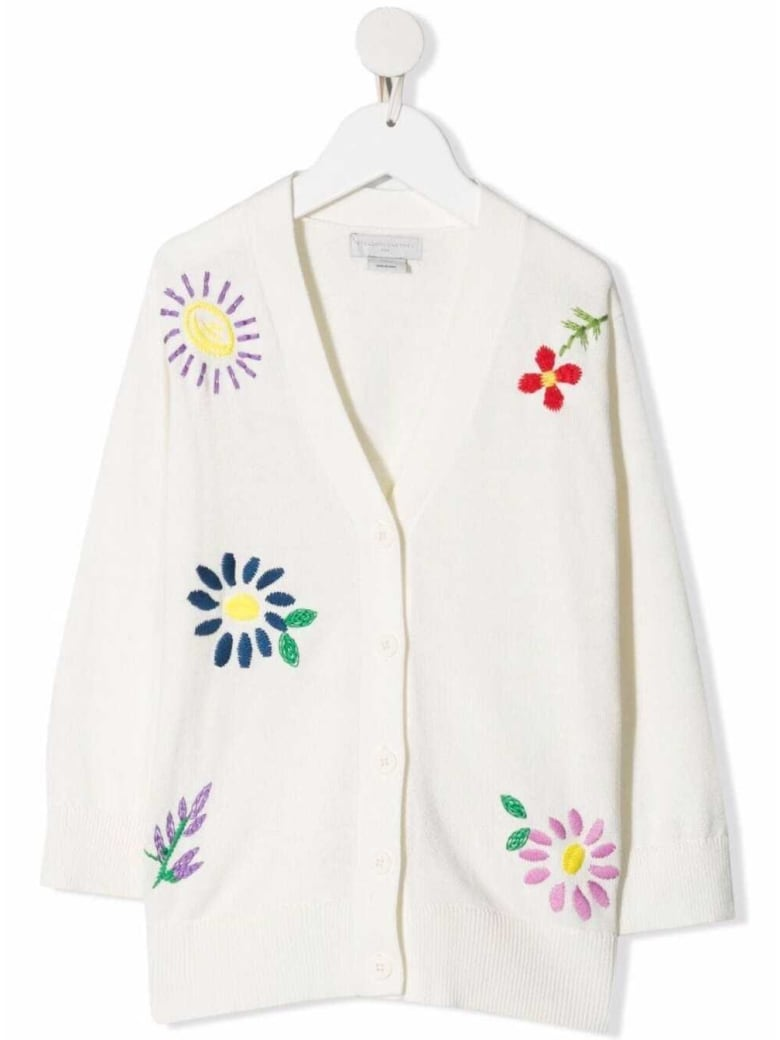 Stella McCartney Kids Cotton And Wool Cardigan With Floral Embroidery - White