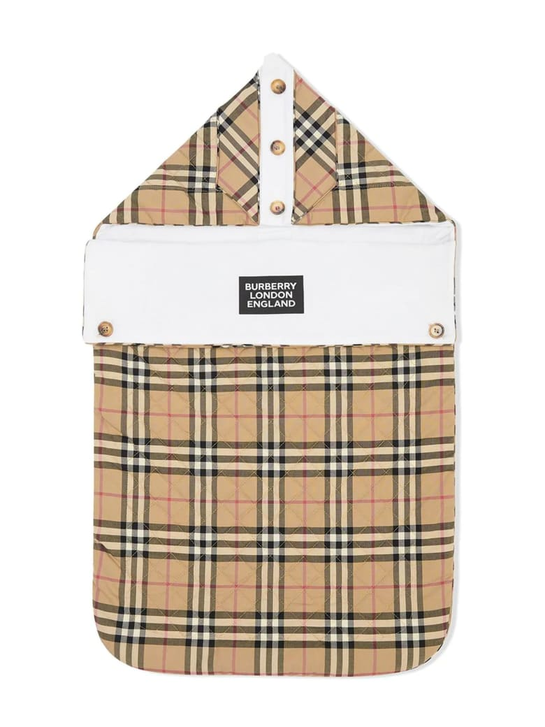 Burberry Beige Cotton Check Print Baby Nest - Check