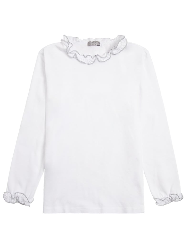 Il Gufo Long-sleeved T-shirt In Organic Cotton With Ruffles Detail - White