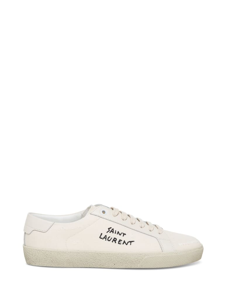 Saint Laurent Court Sl / 06 Sneakers With Leather And Fabric Embroidery - White