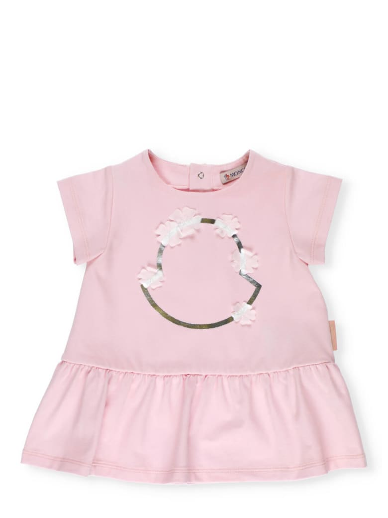Moncler Cotton Dress With Floral Pattern - PINK