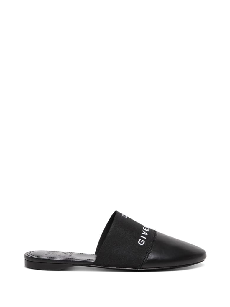 Givenchy 4g Flat Mules In Black Leather - Black