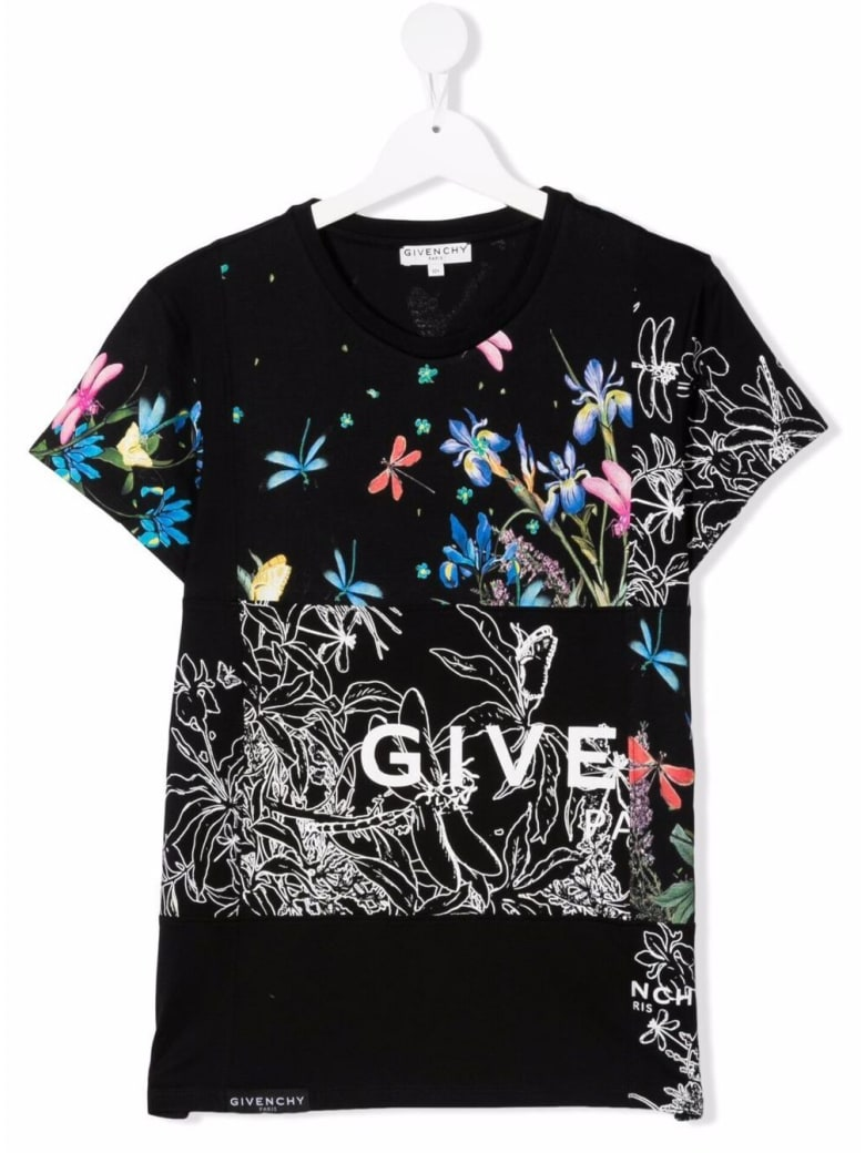 Givenchy Jersey T-shirt With Floral Print And Logo - Black