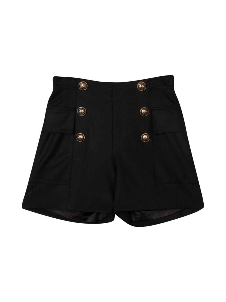 Balmain Black Bermuda Shorts Teen - Nero/oro