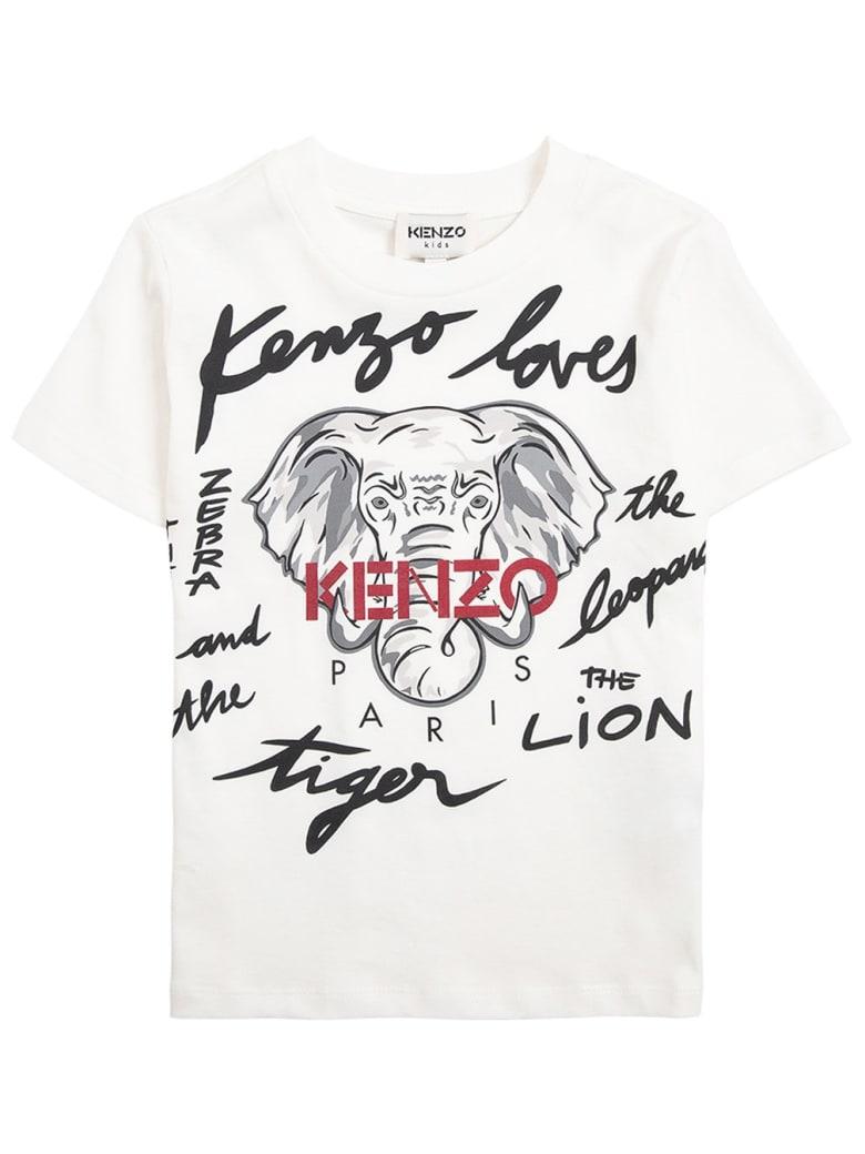 Kenzo Kids Cotton T-shirt With Print - White