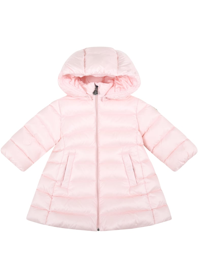 """Moncler Pink """"majeure"""" Jacket For Baby Girl With Logo Patch - Pink"""