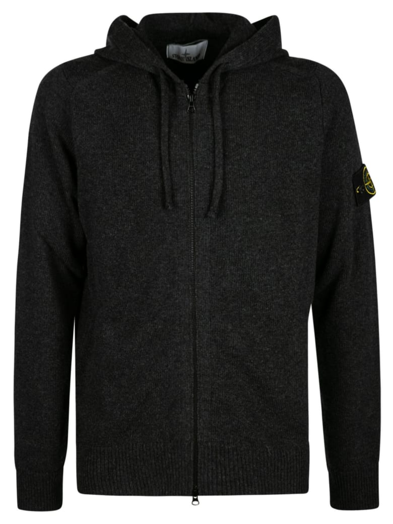 Stone Island Logo Patched Hooded Zip Jacket - Dark Grey