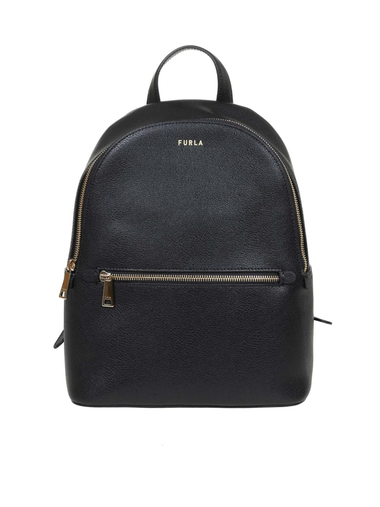 Furla Free Backpack M In Leather And Black Color - Black