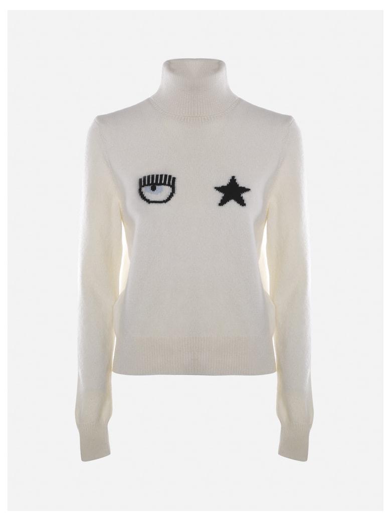 Chiara Ferragni Wool Sweater With Eyestar Logo Detail - White