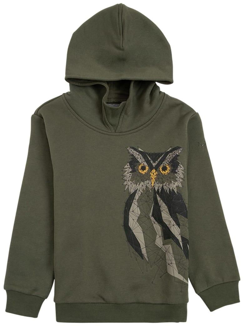 Il Gufo Green Organic Cotton Hoodie With Owl Print - Green