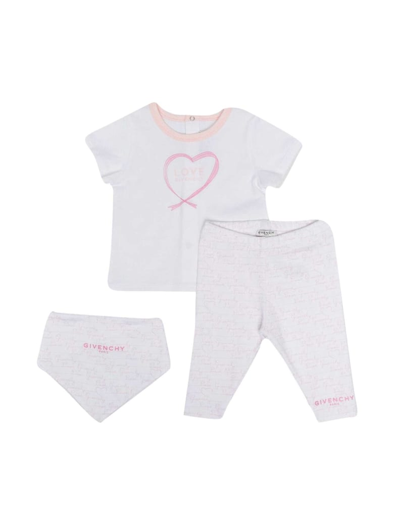 Givenchy White And Pink Baby Suit - Rosa