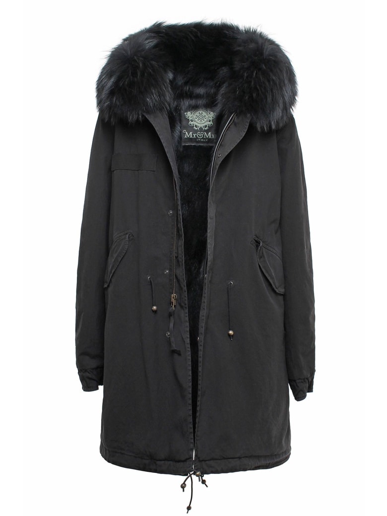 Mr & Mrs Italy Exclusive Fw20 Icon Parka: Black Parka Patch Fox Raccoon Fur - BLACK