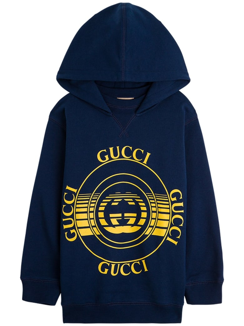 Gucci Cotton Blue Hoodie With Disck Print - (blue/yellow/mc)