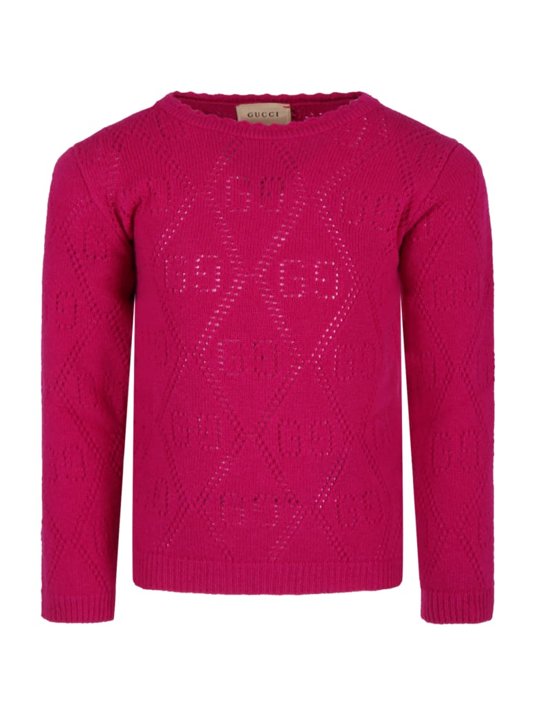 Gucci Fuchsia Sweater For Girl With Double Gg - Fuchsia