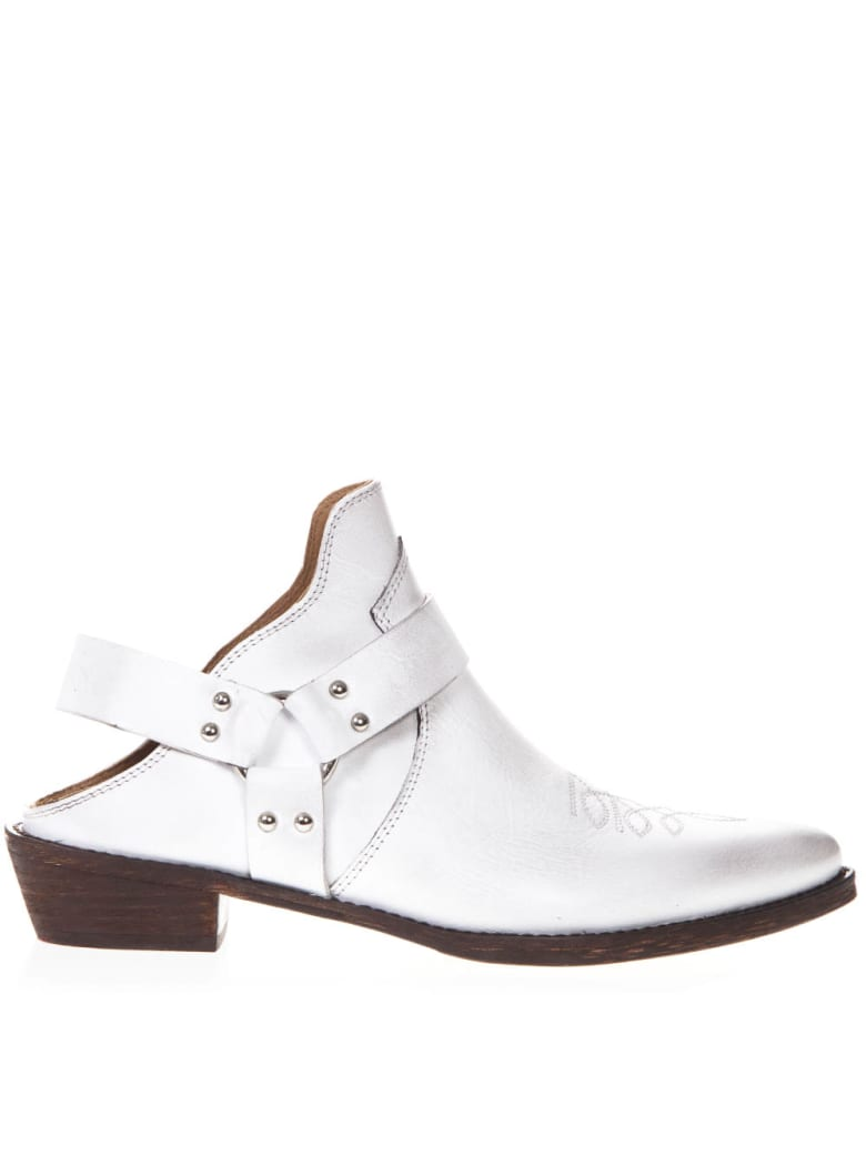 Coral Blue White Leather Vintage Texan Mule - White