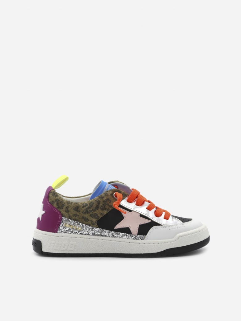 Golden Goose Yeah Sneakers In Leather With Glitter And Animalier Inserts - Multicolor