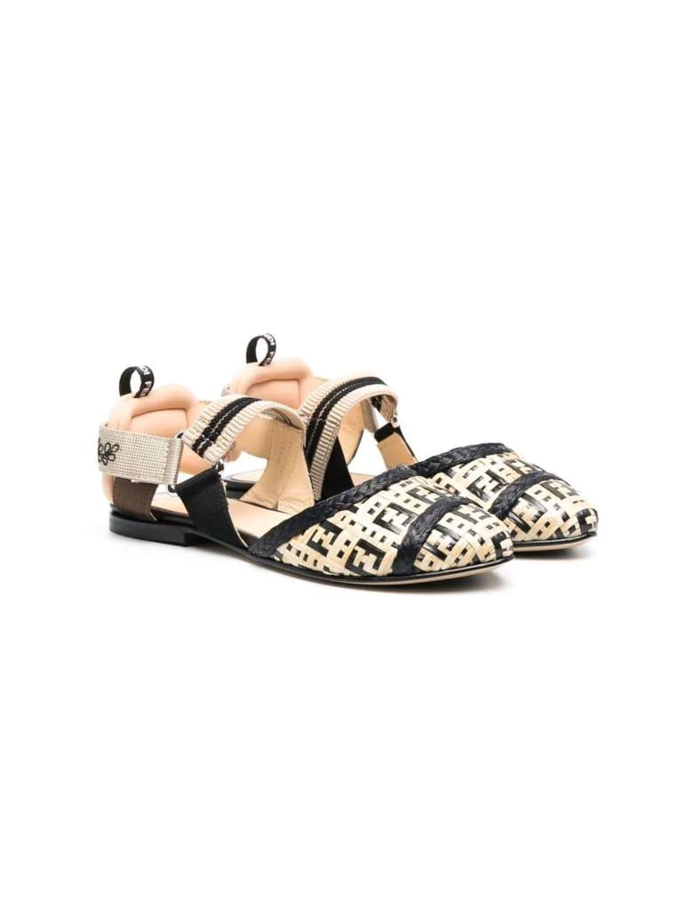 Fendi Beige Ff-pattern Ballerina Shoes - Nero+beige