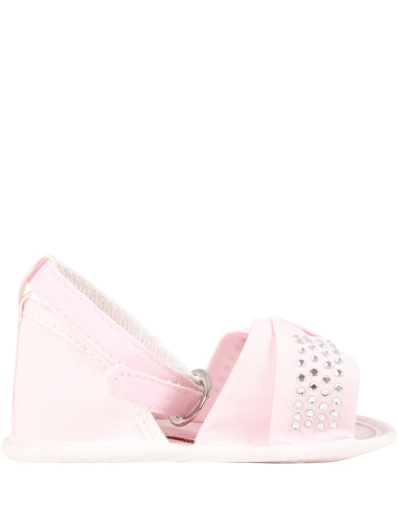 Blumarine Pink Sandals For Baby Girl With Logo - Pink