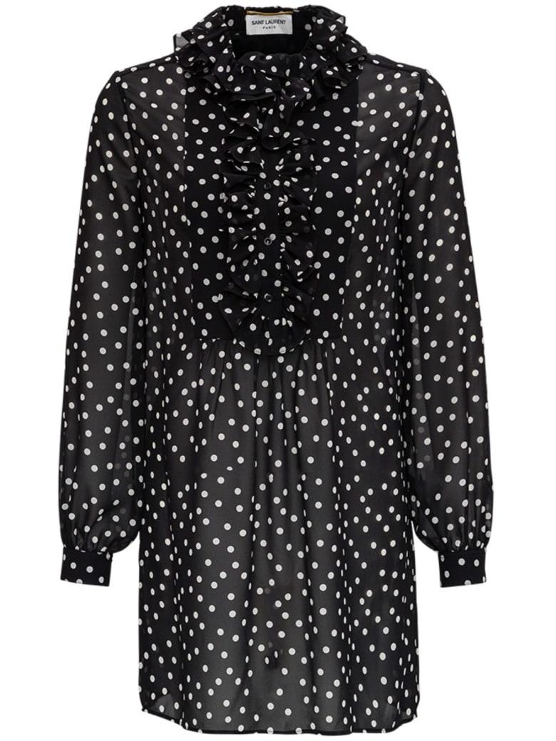 Saint Laurent Dotted Print See-through Blouse - Black
