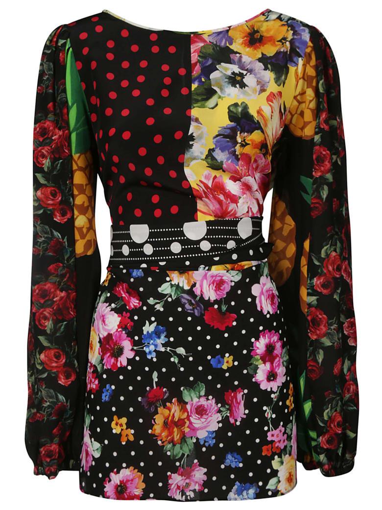 Dolce & Gabbana Tie-waist Floral Printed Slim Dress - Multicolor