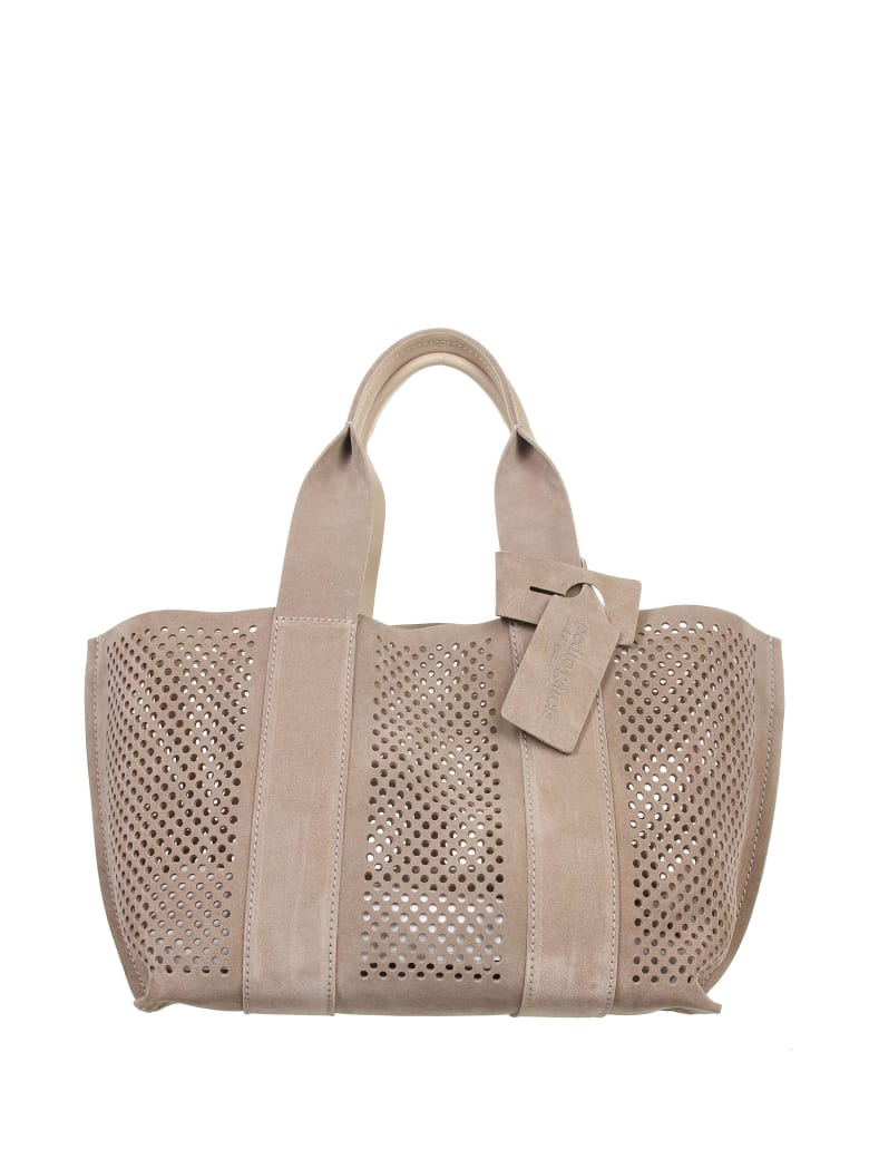 Pedro Garcia Perforated Bag In Taupe Suede - TORTORA