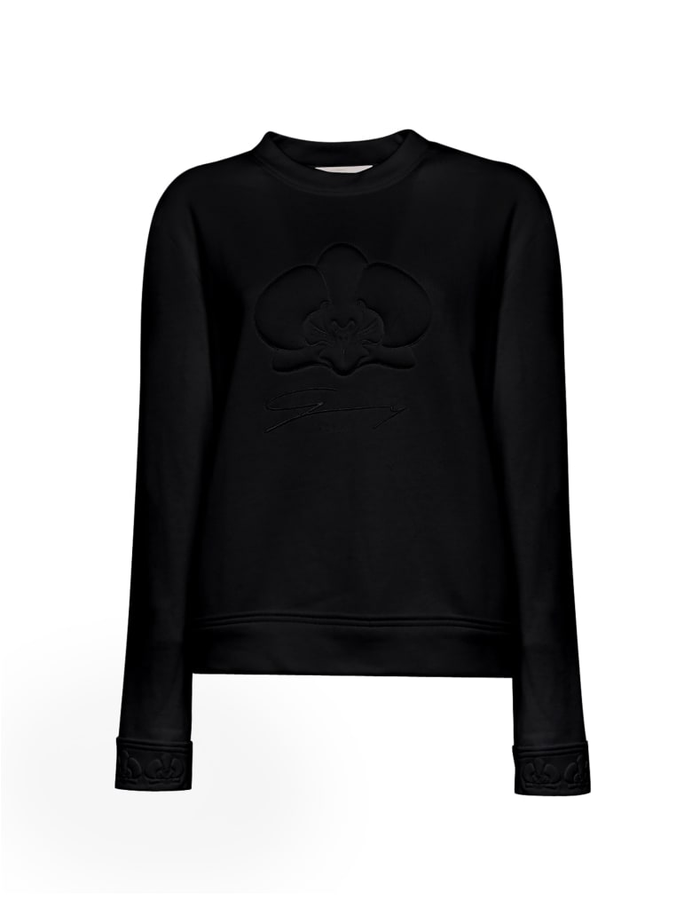 Genny Black Orchid Embossed Cotton Sweater - NERO