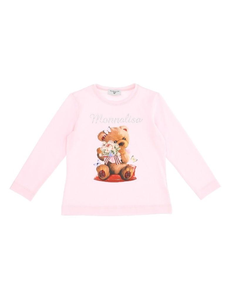 Monnalisa Long Sleeved Shirt With Teddy Bear Print - Pink