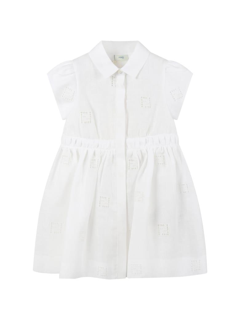 Fendi White Dress For Babygirl - White