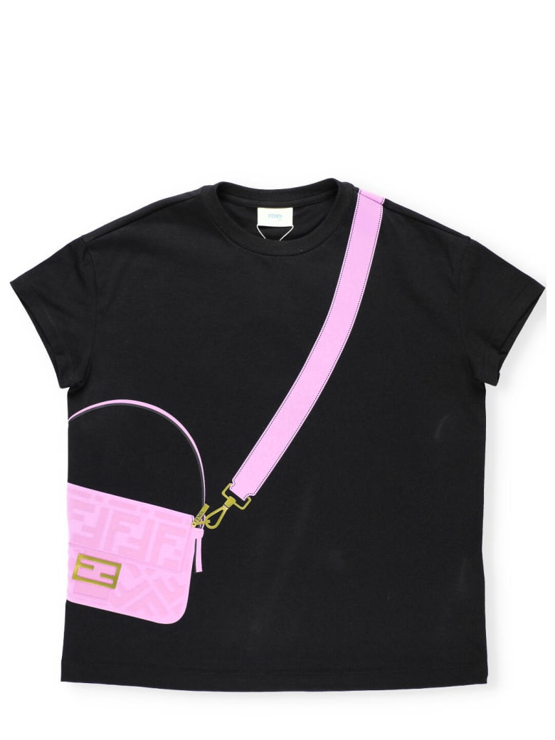 Fendi T-shirt With Embossed Loged Print - BLACK+CANDY