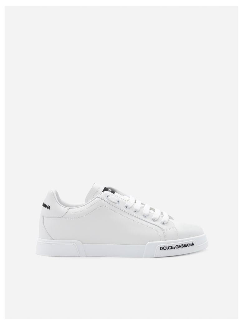 Dolce & Gabbana Portofino Sneakers In Leather With Contrasting Logo - White