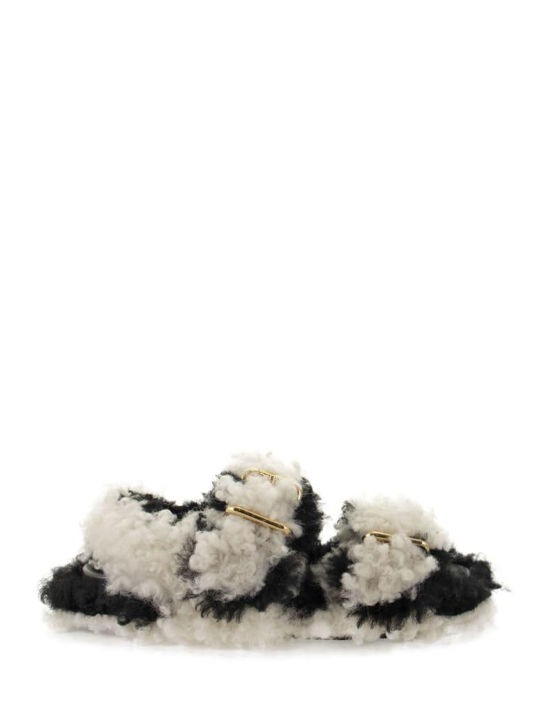 Marni Fussbett - Shearling Buckled Sandals - Black/white