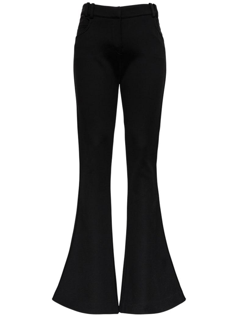 Balmain Black Flared Viscose Trousers - Black