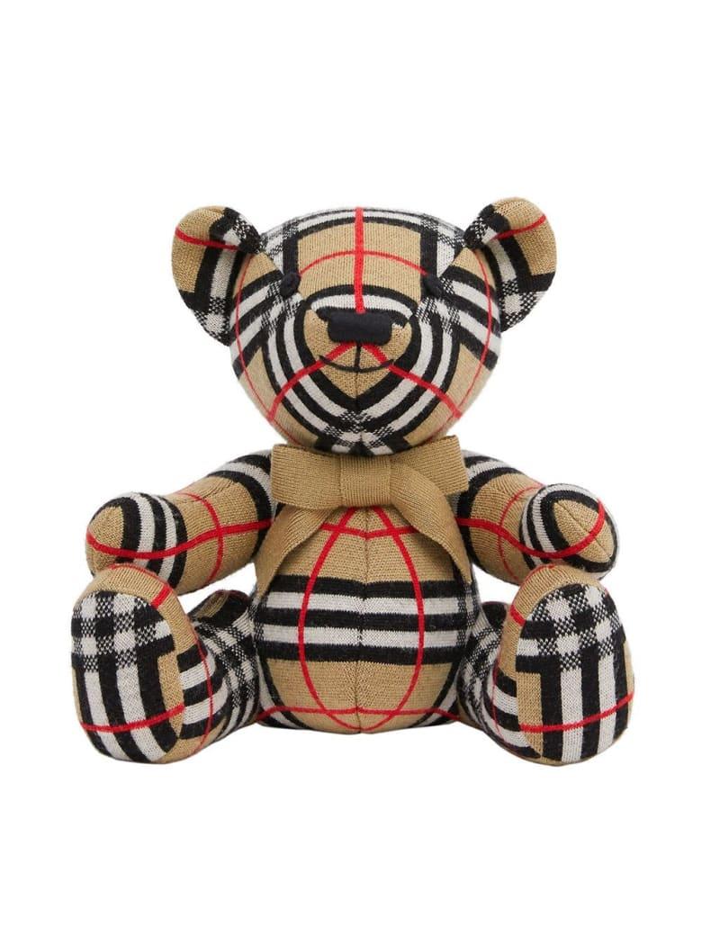 Burberry Vintage Check Teddy Bear In Merino Wool - Beige