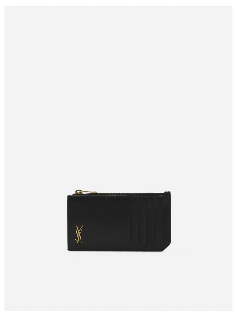 Saint Laurent Leather Card Holder With Monogram Detail - Black